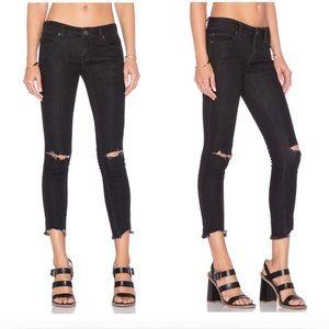 Free People Destroyed Ankle Skinny Jeans Black ❣️